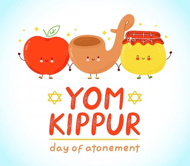 Cute apple, shofarand honey jar. yom kippur kids card. Premium Vector