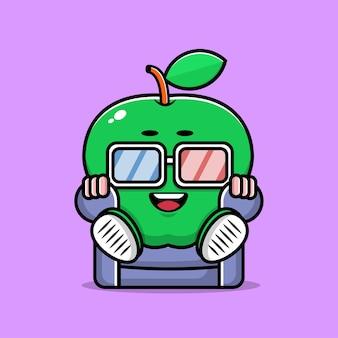 Cute apple sit and watch movie cartoon illustration