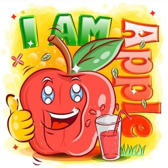 주스 한 잔과 귀여운 사과