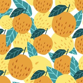 귀여운 사과 배경입니다. 사과와 잎이 있는 매끄러운 패턴입니다. 직물, 직물 인쇄, 포장지, 어린이 직물을 위한 디자인. 벡터 일러스트 레이 션
