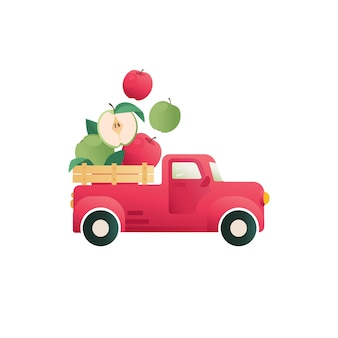 Cute apples emblem concept apples in a truck vector icon funny element for logo packaging print