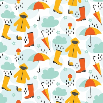 Cute april showers seamless pattern design