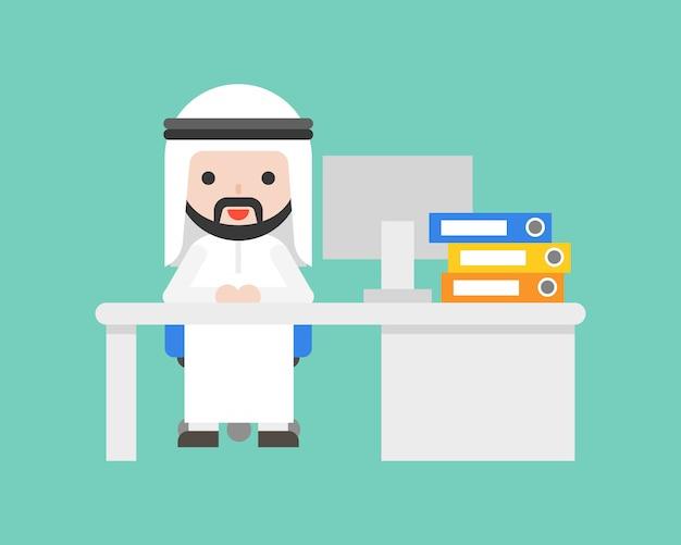 Cute arab business man sit at desk