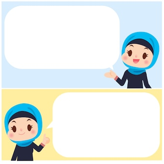 Cute arab women character with message board