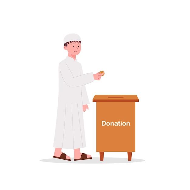 かわいいアラビアの子供たちがチャリティーボックスに彼のお金を寄付します