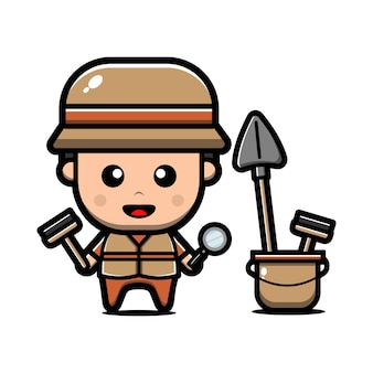 Cute archaeologist character