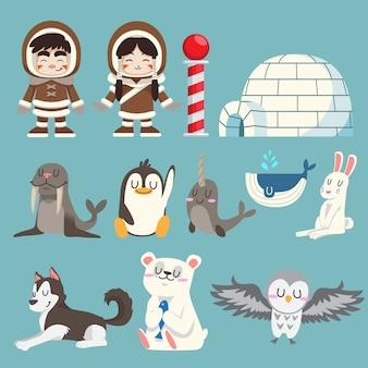 Cute arctic and north pole animals vector set