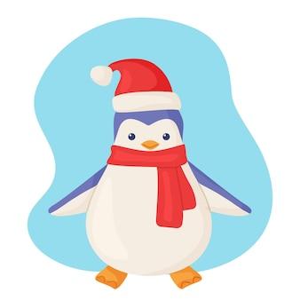 만화 스타일의 크리스마스 모자를 쓴 귀여운 북극 펭귄