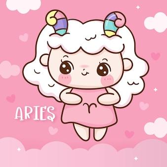 Cute aries zodiac horoscope doodle style kawaii cartoon Premium Vector