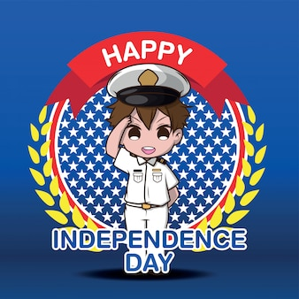 Cute army cartoon character, happy independen day.