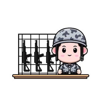 武器のキャラクターとかわいい軍の漫画