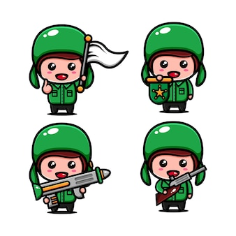 Cute army character design themed maintain the region