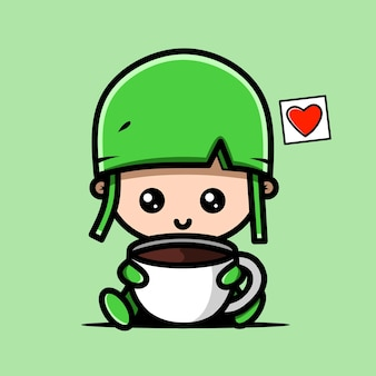 커피 컵과 함께 귀여운 군대 캐릭터