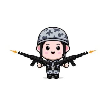 武器の漫画のキャラクターを保持しているかわいい軍隊