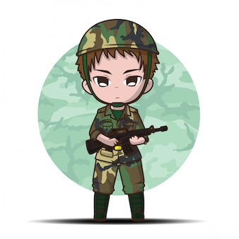 Cute army soldier boy cartoon.