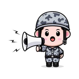Cute army speaking on megaphone cartoon character