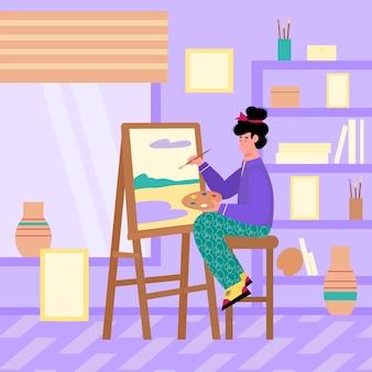 Милый художник женский персонаж мультфильма рисует на холсте