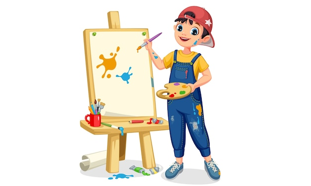 Cute artist little boy painting on canvas illustration