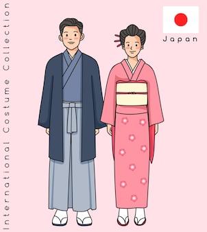 伝統的な服を着たかわいいアジアのカップル