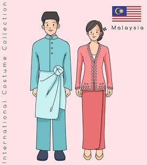 Cute asian couple with traditional clothes