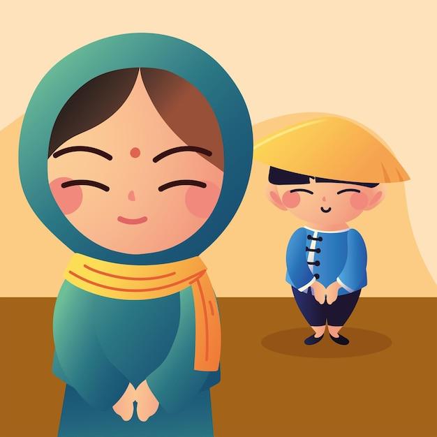 귀여운 아시아 커플