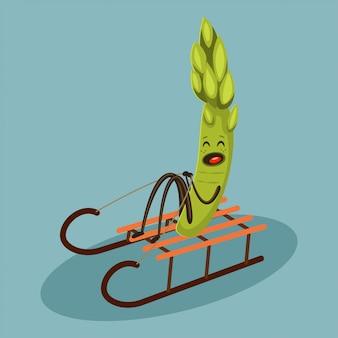 Cute asparagus cartoon character sledding.