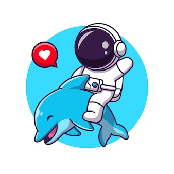 Cute asrtronout with dolphin cartoon illustration.