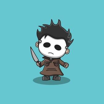 Симпатичный персонаж-убийца с маской и ножом