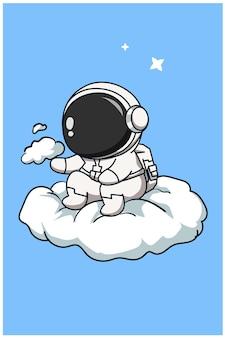 雲の上のかわいい宇宙飛行士漫画イラスト