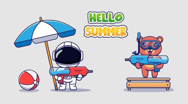 かわいい宇宙飛行士とこんにちは夏の挨拶バナーとクマ