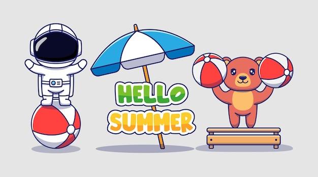 Милый космонавт и медведь с приветственным летним поздравительным баннером