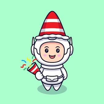 귀여운 우주 비행사와 색종이 만화 그림. 플랫 만화 스타일