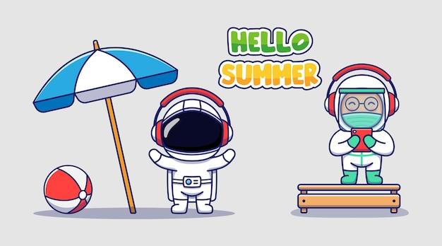 Милый космонавт и доктор с приветственным летним поздравительным баннером