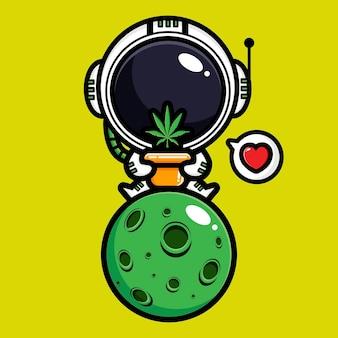 귀여운 우주 비행사와 마리화나 잎