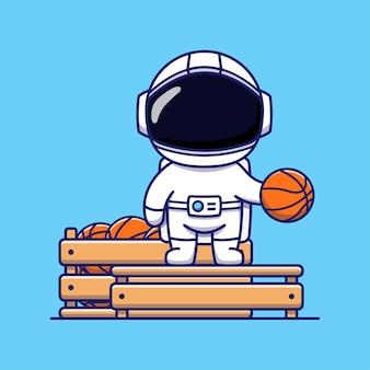 Cute astronaut on basket ball