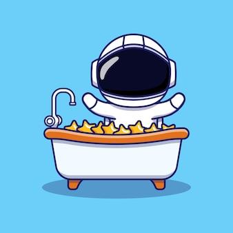 Cute astronaut bathing in the bathtub