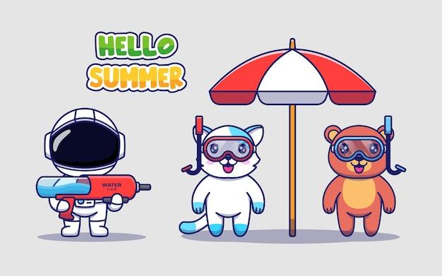 こんにちは夏の挨拶バナーとかわいい宇宙飛行士、クマ、猫
