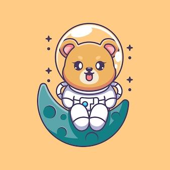 달에 앉아 귀여운 우주 비행사 곰