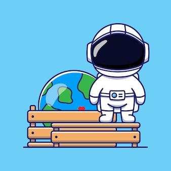 ボックス内の惑星地球のほかにかわいい宇宙飛行士