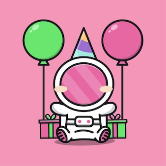 Cute astronaut birthday party with gift and balloon cartoon illustration