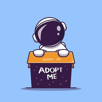 Cute astronaut in box cartoon icon illustration. science technology concept. flat cartoon style