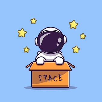 Cute astronaut in box cartoon vector icon illustration. science technology icon