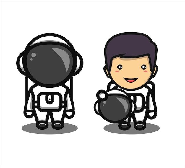Cute astronaut boy smiling cartoon