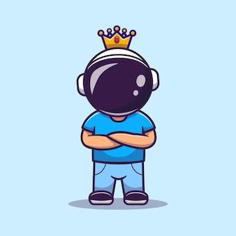 Cute astronaut boy with crown cartoon icon illustration.