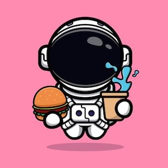 かわいい宇宙飛行士が宇宙マスコットに食べ物を持ってくる