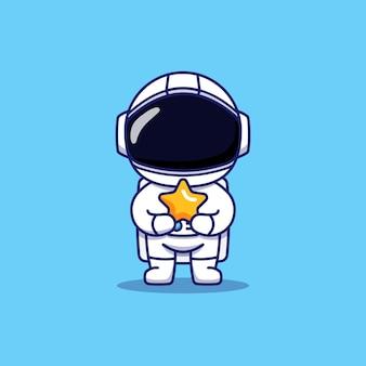 Милый космонавт, несущий звезду
