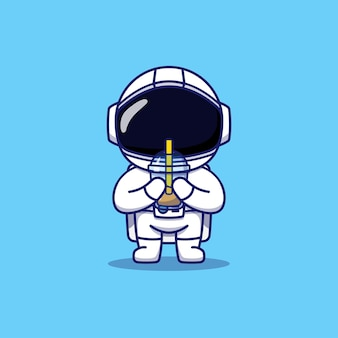 Cute astronaut carrying a cup of coffee