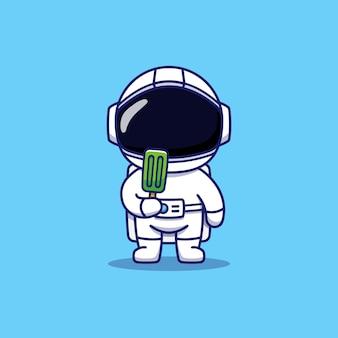 녹색 아이스크림을 들고 귀여운 우주 비행사