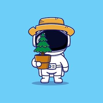 植物を運ぶかわいい宇宙飛行士