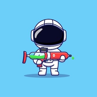 Cute astronaut carrying weapon